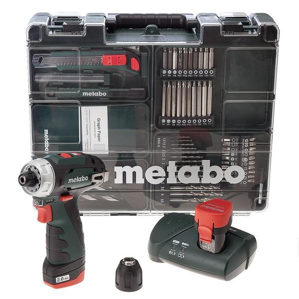 Metabo 10.8V-Akku-Wekzeugset, Bohrschrauber PowerMaxx BS Basic 10.8V + 63-teiliges Zubehör