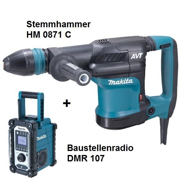 Makita Stemmhammer HM0871C, elektronisch, 1110 W + Baustellenradio DMR 107